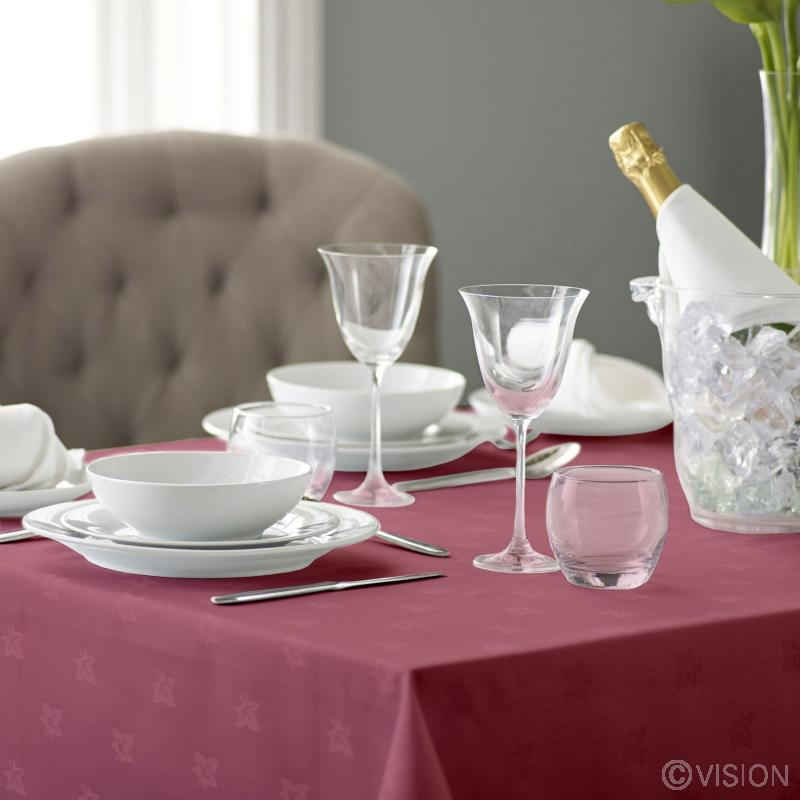 Alpha Ivyleaf burgundy stain resistant tablecloth