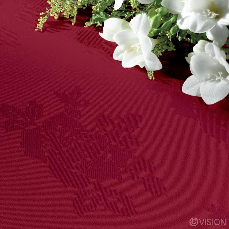 Apollo Rose Burgundy Coloured Tablecloth 100% Spun Polyester