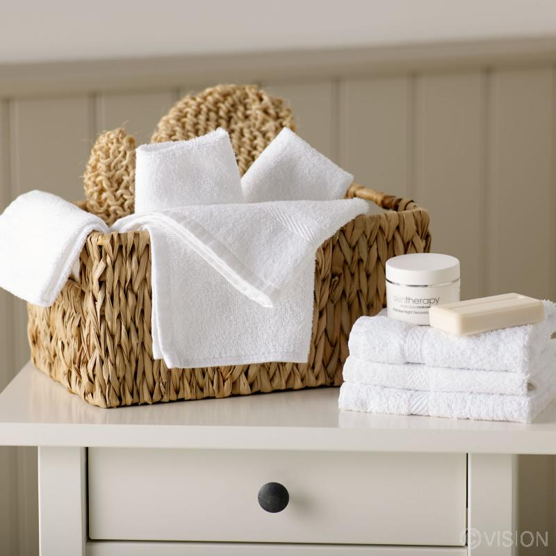 Hotel Pure Luxury white face cloth with dobby header