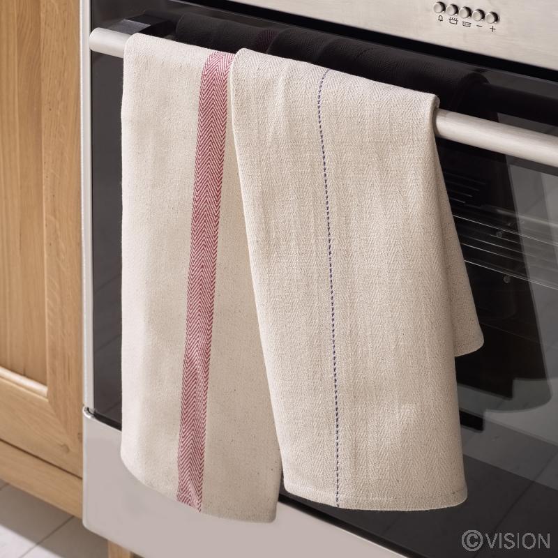 Bulk restaurant oven cloths with blue line design 5 packs