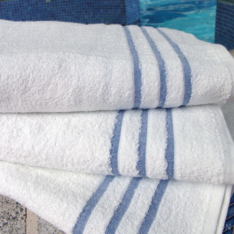 100% cotton & polycotton ground white leisure bath towel with blue header bars for easy identification