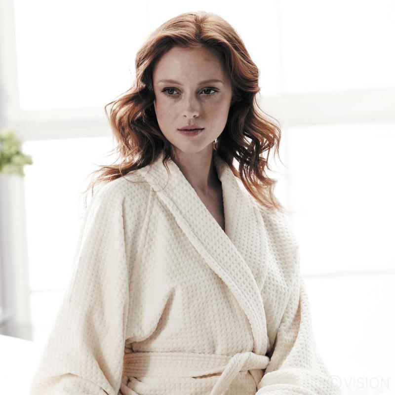 Mosaic Cotton Velour luxury Spa Bathrobe - Model Detail