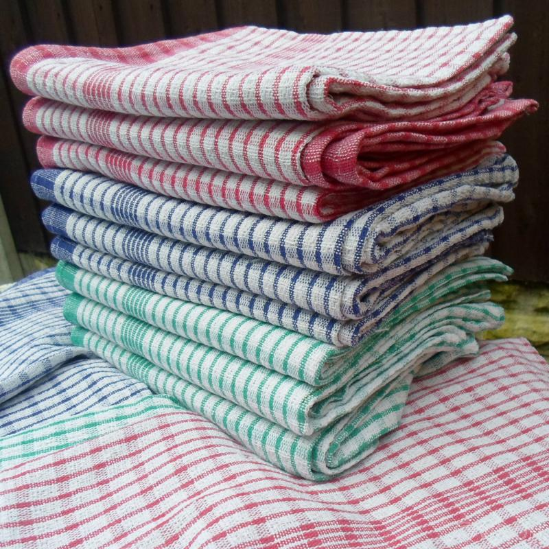 Superdry checked coloured kitchen tea towels 5 packs