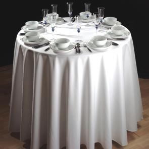 Alpha plain white circular tablecloth 100% spun polyester