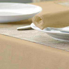 Alpha biscuit coloured circular tablecloth 100% spun polyester