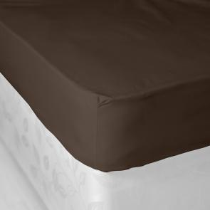 Chocolate Coloured Durable Polycotton Fitted Sheet