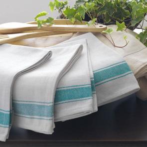 Restaurant kitchen cloths made from 100% cotton with green stripe design