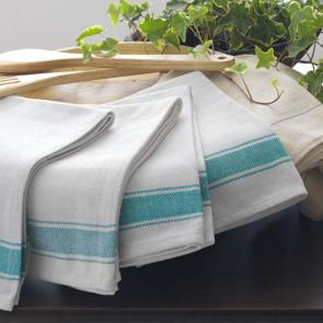Restaurant kitchen cloths made from 100% cotton with green stripe design 5 pack