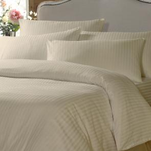 Cream Satin Stripe Flame Retardant Duvet Cover