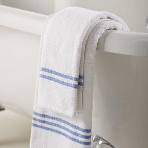 Quality Cotton White Leisure Hand Towel With a Blue Identification Header