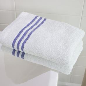 White Luxury Leisure 100% Cotton Bath Sheet - Blue Headers