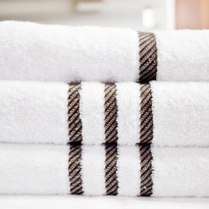 White Luxury Leisure hand towel with chocolate headers