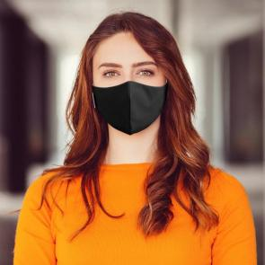 Woman wearing black face mask