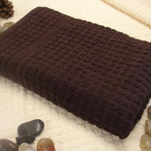Mosaic Cotton hotel large Bath Sheet - Chocolate