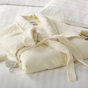 Mosaic Cotton Velour luxury Spa Bathrobe - Ecru