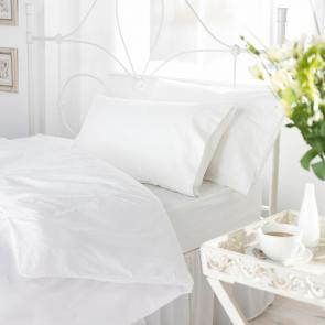 White Polycotton Single Duvet Cover - Envelope End
