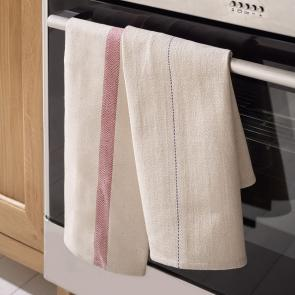 100% cotton oven cloth with red chevron design