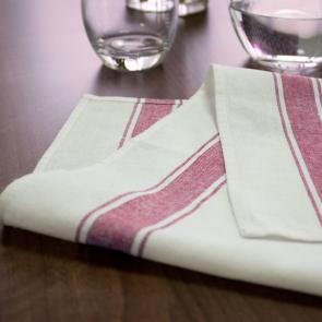 100% cotton glass red stripe cleaning cloth for bars and restaurants 5 pack