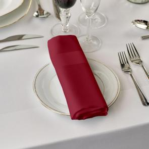 Alpha burgundy coloured 100% cotton satin band napkins