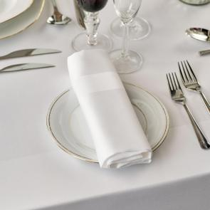 Coloured 100% cotton satin band napkins white