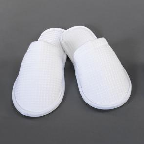 White hotel and spa towel cotton slippers - closed toe