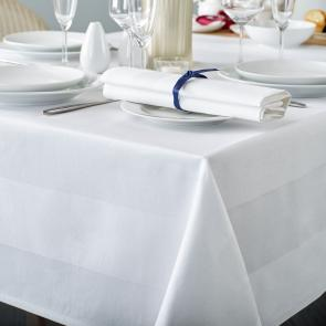 Delta white satin band hotel tablecloth