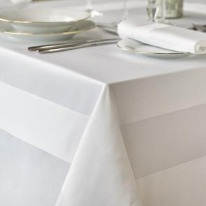 Athena satin band white luxury tablecloth