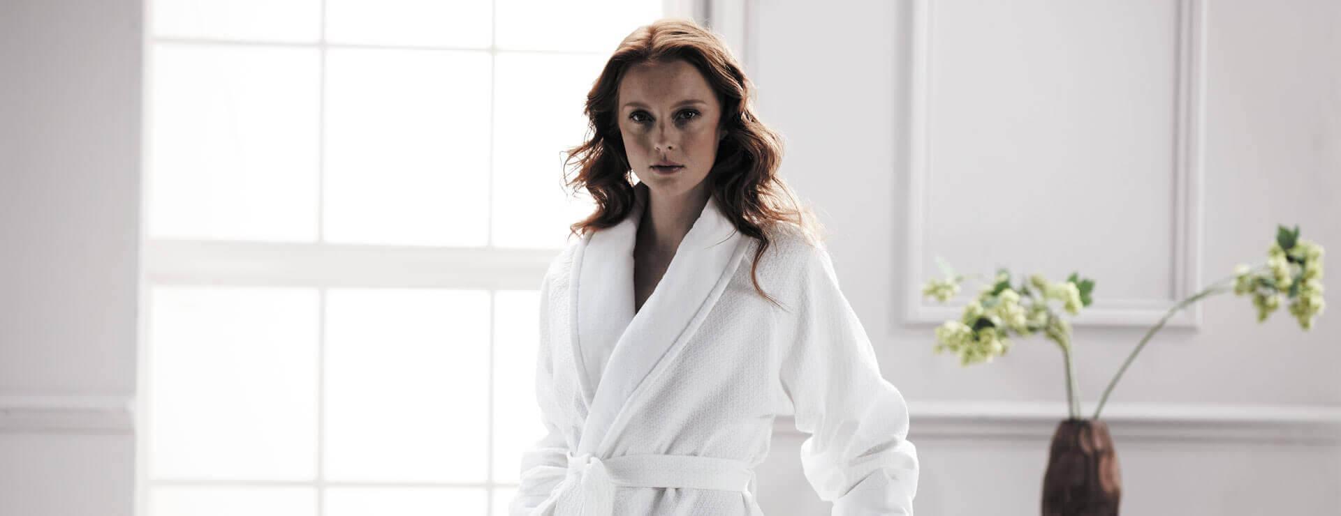 Beautiful women wearing a luxury bathrobe
