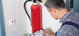 Fire extinguisher being tested for safety